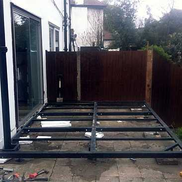 conservatory steel base leanto