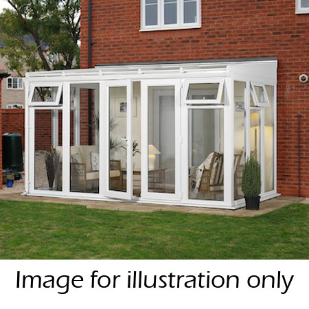 Lean-to glass to ground conservatory