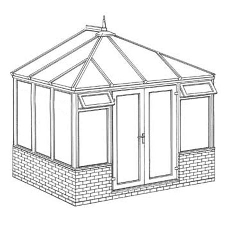 Edwardian Dwarf Wall DIY Conservatory 3158mm width x 2343mm projection