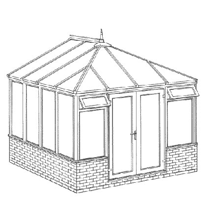 Edwardian Dwarf Wall DIY Conservatory 3158mm width x 3086mm projection