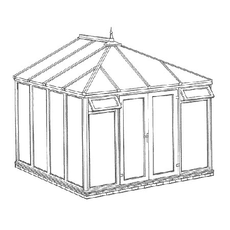 Interest Free Credit Edwardian Full Height DIY Conservatory 3158mm width x 3086mm projection
