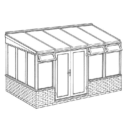 Interest Free Credit Lean-to Dwarf Wall DIY Conservatory 3901mm width x 2343mm projection