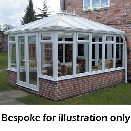 Edwardian double hipped dwarf wall DIY Conservatory 4000mm (d) x 3500mm (w)