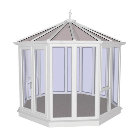 Consiton White PVCu Garden Building Full Height 3444mm (w) x 3444mm (p)