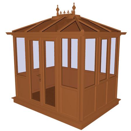 Kensington Oak PVCu Garden Building Lower Panel (Shiplap Style) 2858mm (w) x 2190mm (p)