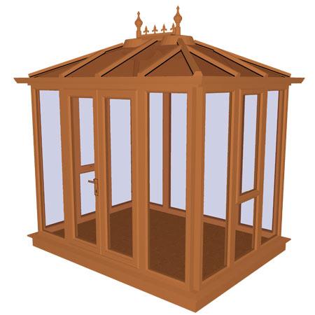 Kensington Oak PVCu Garden Building Full Height 3158mm (w) x 2145mm (p)