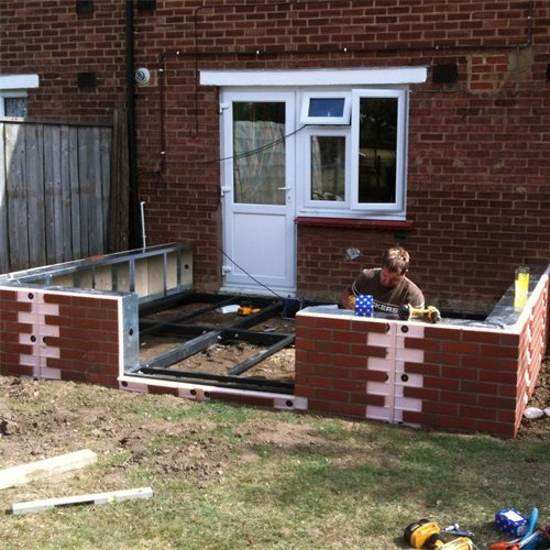 Traditional Conservatory Steel Base & Dwarf Wall 3500mm(d) x 8000mm(w)