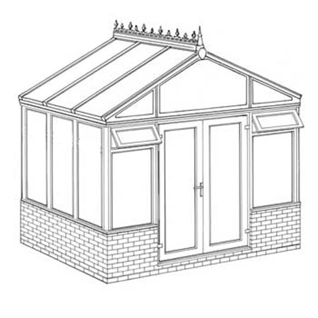 Interest Free Credit Pavilion Dwarf Wall DIY Conservatory 3158mm width x 2338mm projection