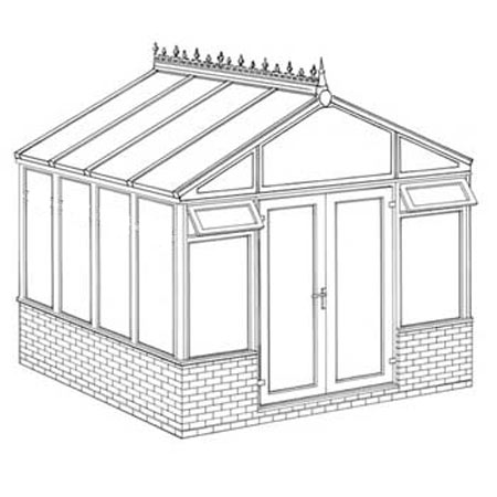Pavilion Dwarf Wall DIY Conservatory 3158mm width x 3082mm projection