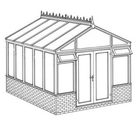 Interest Free Credit Pavilion Dwarf Wall DIY Conservatory 3158mm width x 3824mm projection