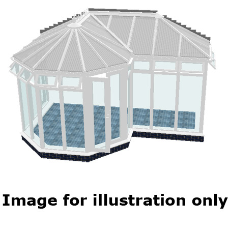 P shape Victorian full height DIY Conservatory 5000mm (d) x 9000mm (w)