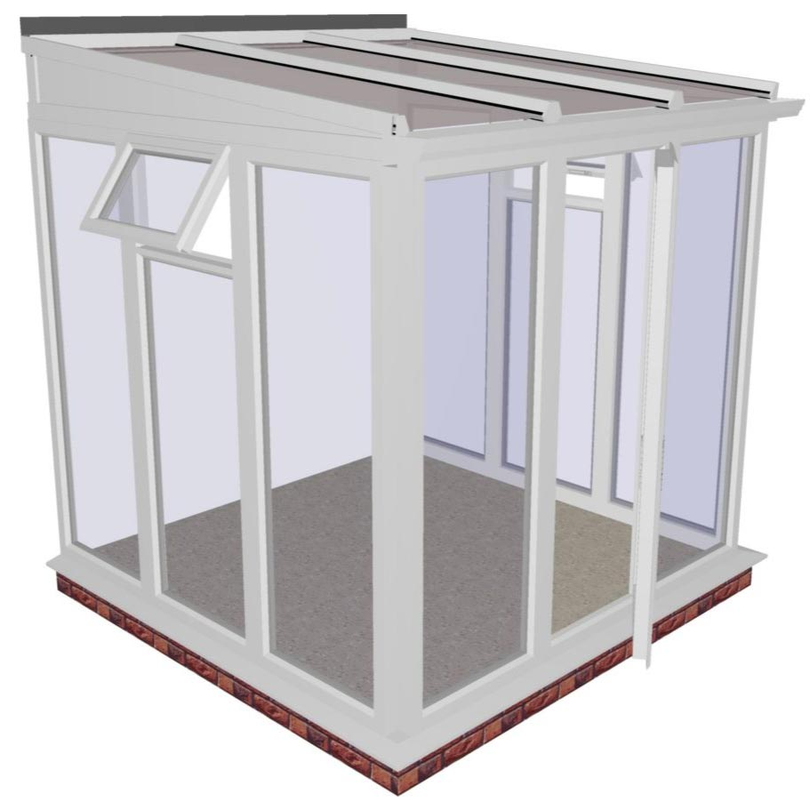 Interest Free Credit Lean-to Full Height DIY Conservatory 2415mm width x 2343mm projection