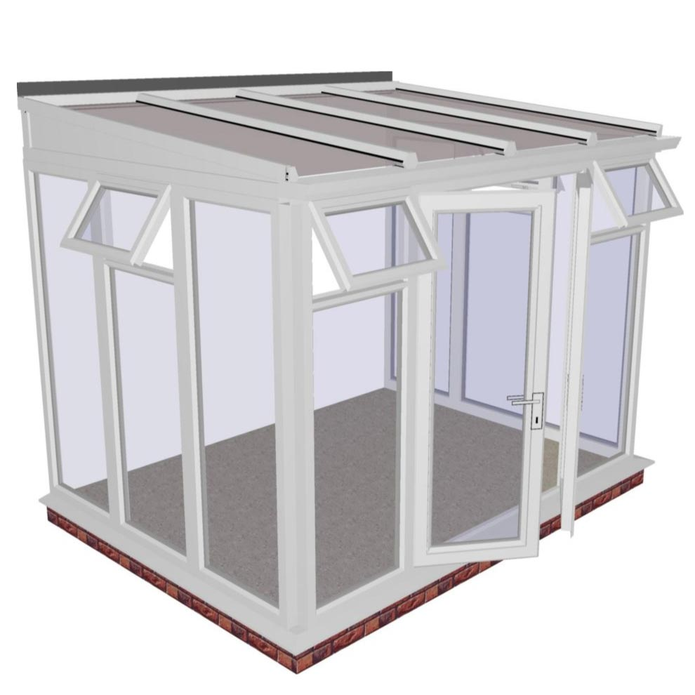 Interest Free Credit Lean-to Full Height DIY Conservatory 3158mm width x 2343mm projection