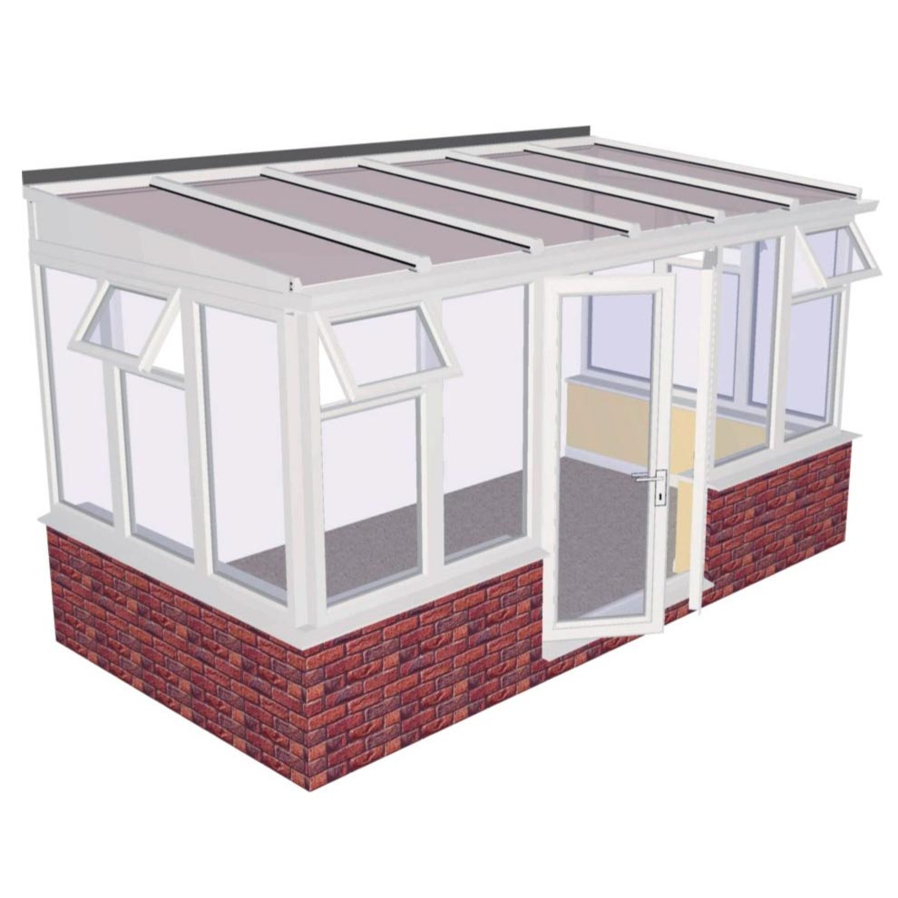 Interest Free Credit Lean-to Dwarf Wall DIY Conservatory 4644mm width x 2343mm projection