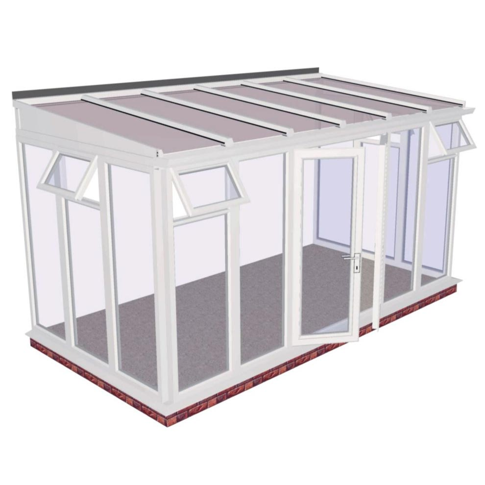 Lean-to Full Height DIY Conservatory 4644mm width x 2343mm projection