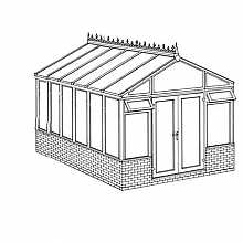 Pavilion Dwarf Wall DIY Conservatory 3158mm width x 4568mm projection