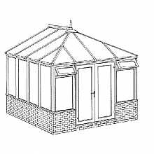 Edwardian Dwarf Wall Conservatory 3158mm width x 3086mm projection