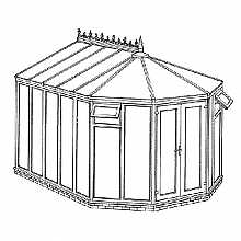 Victorian Full Height DIY Conservatory 3443mm width x 3746mm projection