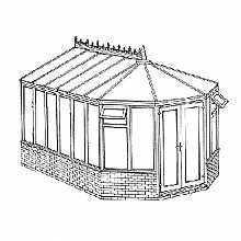 Interest Free Credit Victorian Dwarf Wall DIY Conservatory 3443mm width x 4414mm projection