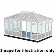 Edwardian double hipped infill panel DIY Conservatory 3500mm (d) x 3000mm (w)