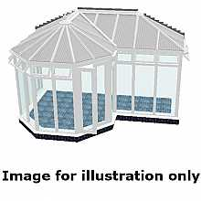 P shape Victorian full height DIY Conservatory 5000mm (d) x 9500mm (w)