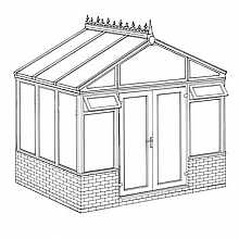 Pavilion Dwarf Wall DIY Conservatory 3158mm width x 2338mm projection
