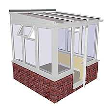 Lean-to Dwarf Wall DIY Conservatory 2415mm width x 2343mm projection