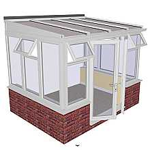 Lean-to Dwarf Wall DIY Conservatory 3158mm width x 2343mm projection