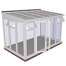 Lean-to Full Height DIY Conservatory 3901mm width x 2343mm projection