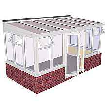 Lean-to Dwarf Wall DIY Conservatory 4644mm width x 2343mm projection